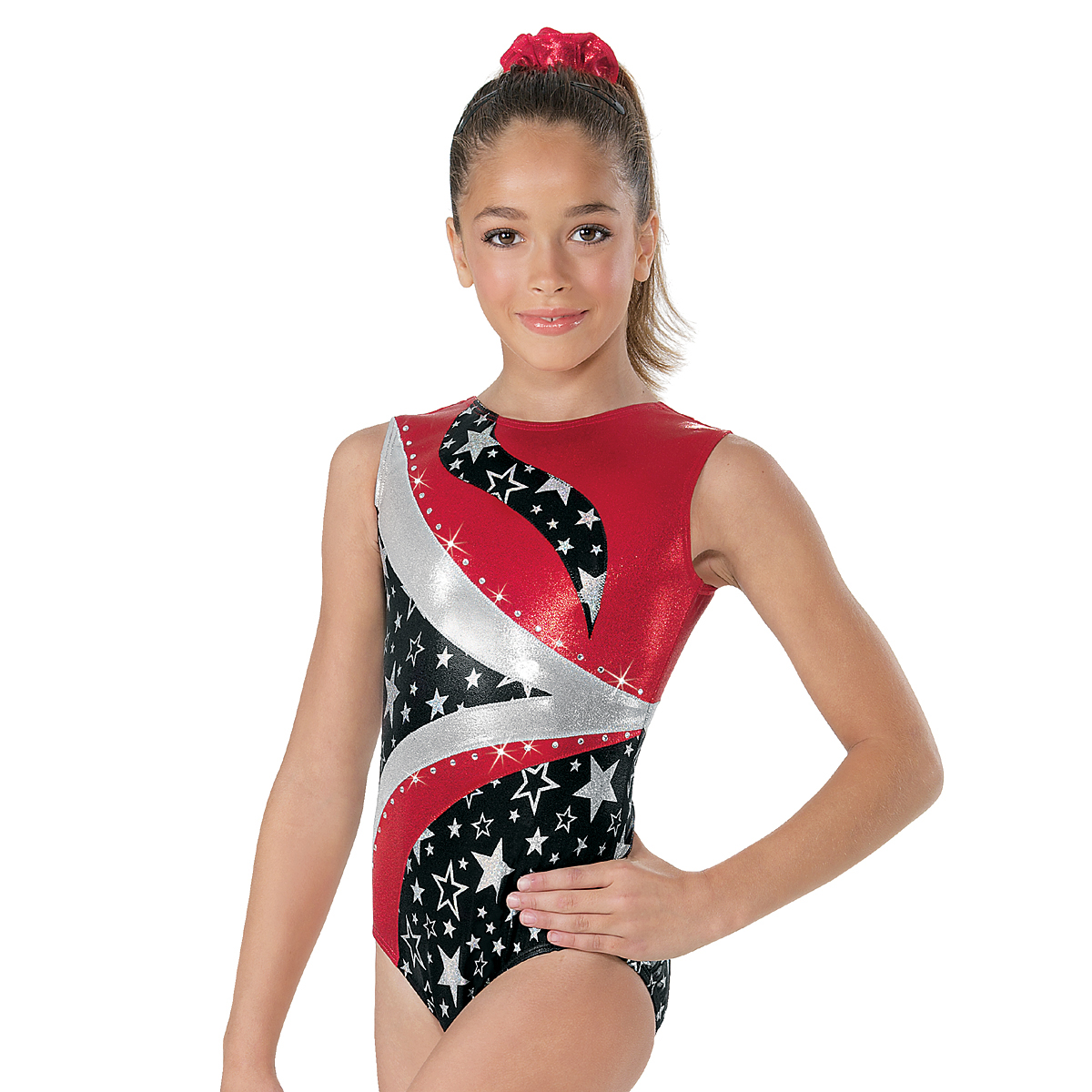 Trikot gymnastika ML8111 hologram star červená