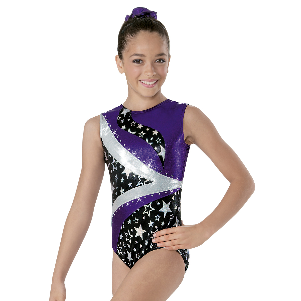 Trikot gymnastika ML8111 hologram star fialová